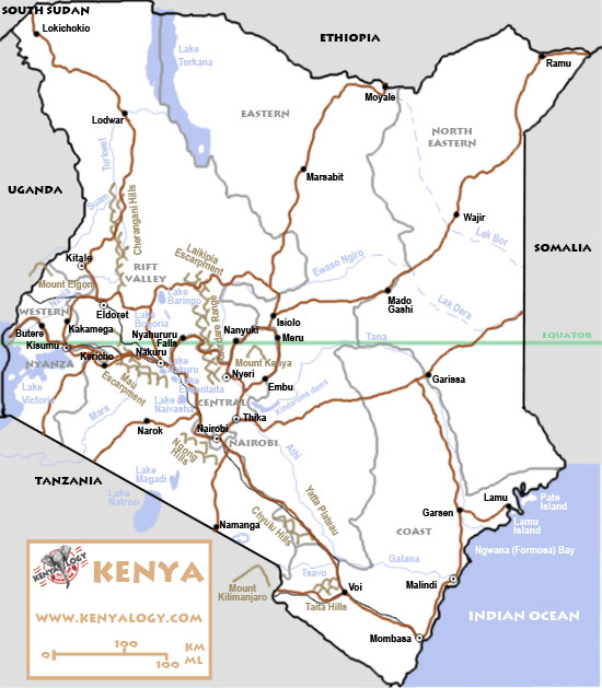 Kenya. Map by Javier Yanes/Kenyalogy.com