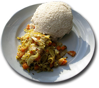 Ugali and cabbage. Modified from Mark Skipper/Wikipedia